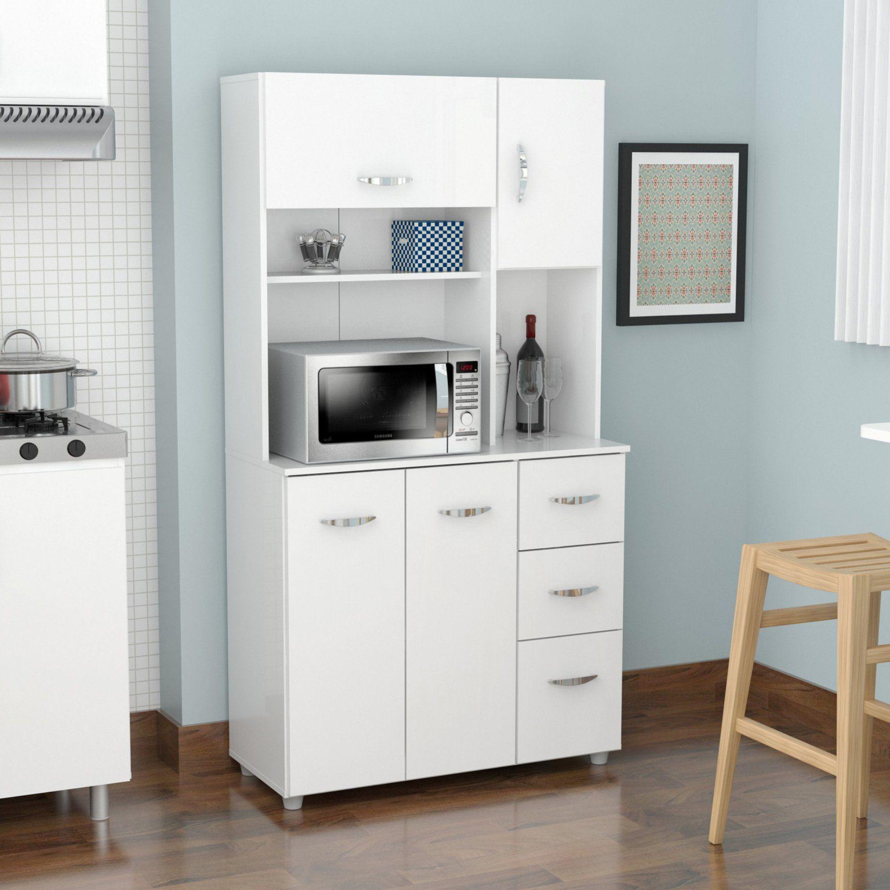 Inval Wide Microwave Hutch Laricina White Gcm 042