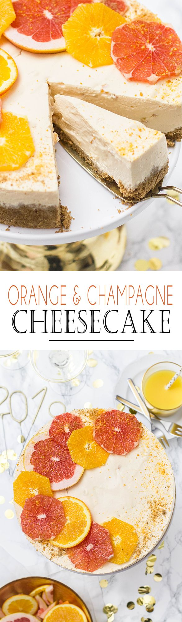 Orange Juice and Champagne No Bake Cheesecake. Perfect recipe for new years eve || Orangensaft und Sekt No Bake Cheesecake. Perfektes Rezept für Silvester #newyearsevefood