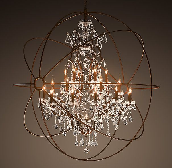 Foucault S Orb Crystal Extra Large Chandelier Rustic Iron Orb