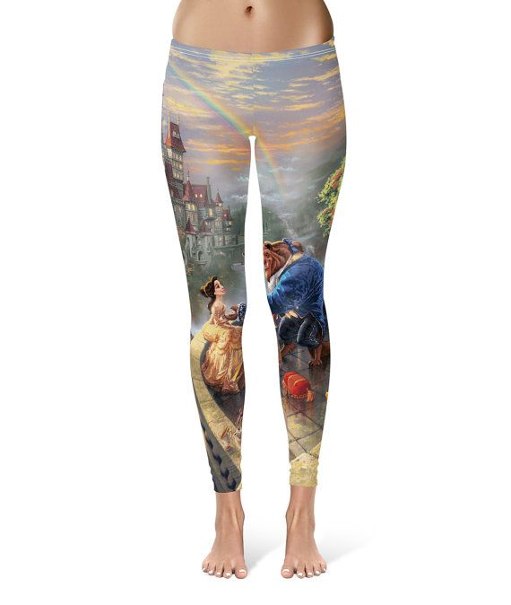 0496bbd1146c2 Beauty and the Beast Disney Painting Princess Belle - Leggings in XS-3XL -  Sports or Fleece Fabric Leggins - Yoga, Gym, Thick Winter 000677