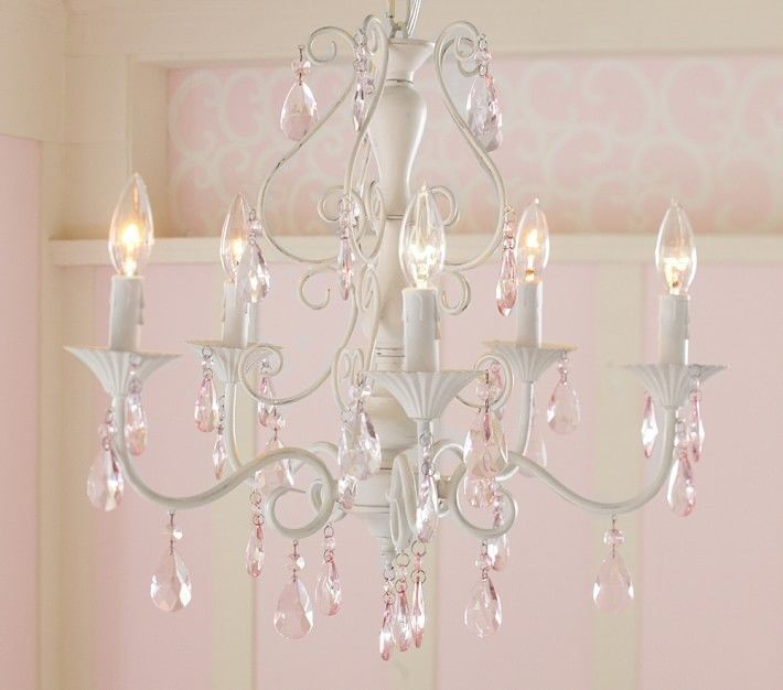 Nib pottery barn kids alyssa white chandelier w pink glass bead i love this chandelier for a little girls room its called the pink alyssa chandelier at pottery barn kids aloadofball Gallery