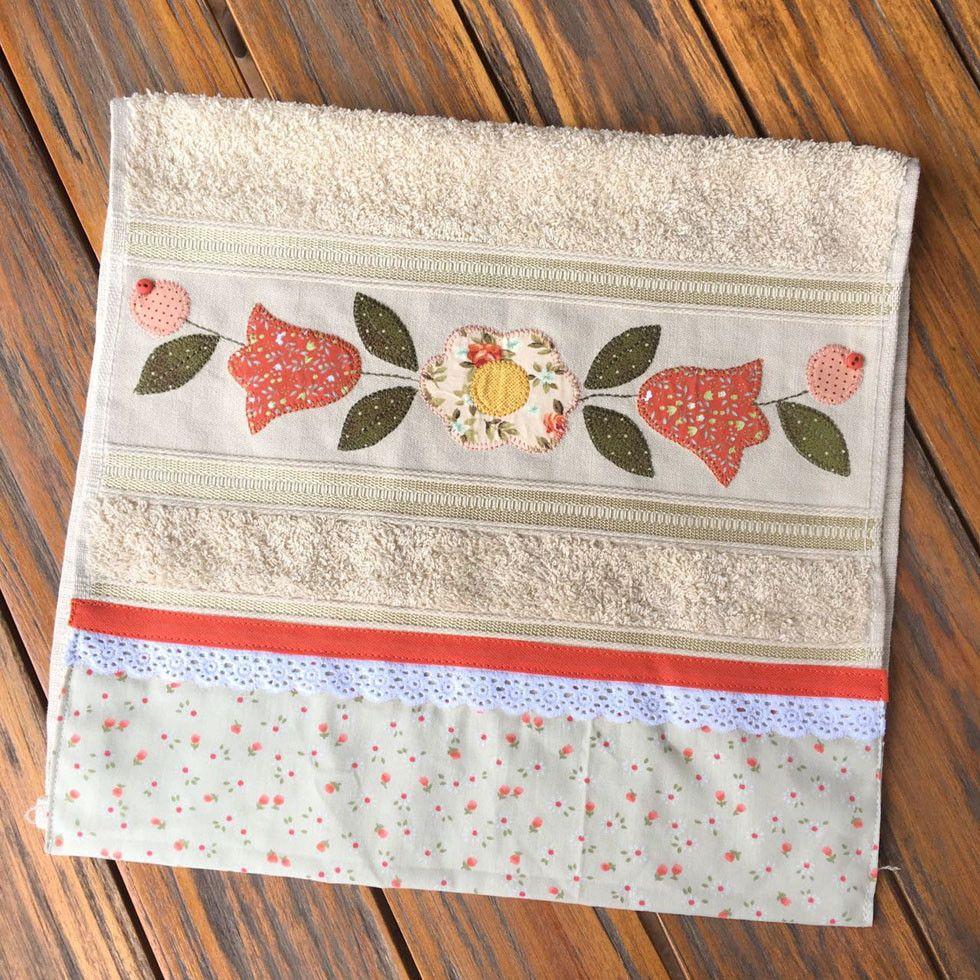 Toalha de lavabo com flores laranja toallas apliques y for Apliques para toallas