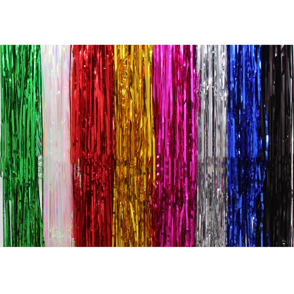 Glitter Plastic Metallic Foil Tinsel Curtain Fringe Events Party Supplies Wedding Birthday Party Favor Design Crafts Foil Curtain Tinsel Tassel Garland Wedding