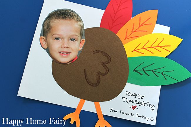 Turkey yourself! An adorable DIY Thanksgiving card   Chickabug is part of Thanksgiving school - This is the cutest and simplest idea ever for a Thanksgiving card! It's courtesy of Julie of Happy Home Fairy, who made these cards this year with her son  Behold the adorableness that happens when you… turkey yourself! The turkey is made by gluing handcut