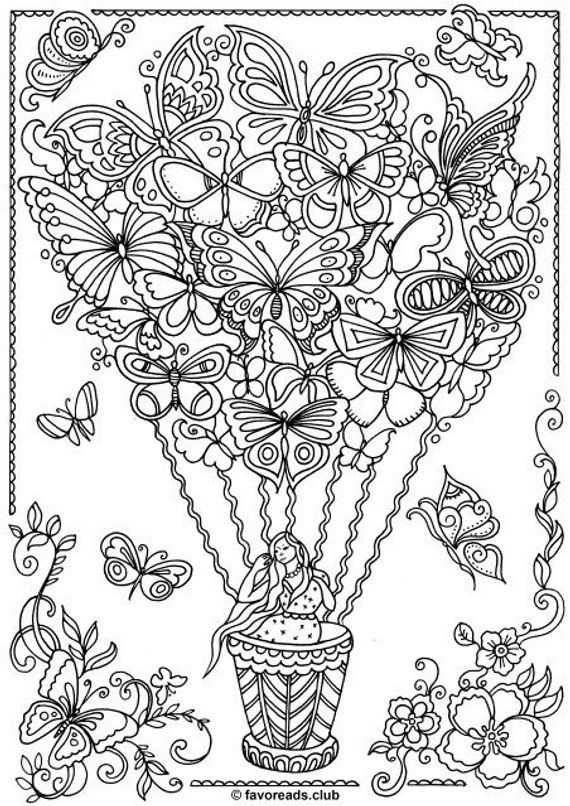 Butterfly Balloon Printable Adult Coloring Page from Favoreads (Coloring book pages for adults