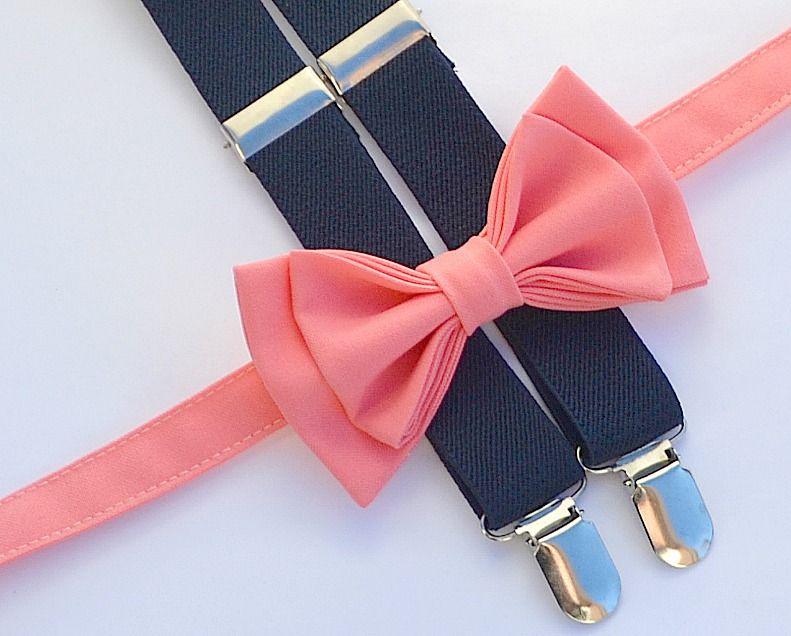 Navy Suspenders & Coral Bow Tie. Shop more styles www.armoniia.etsy ...