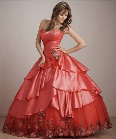 Red 15 anos dresses coral color