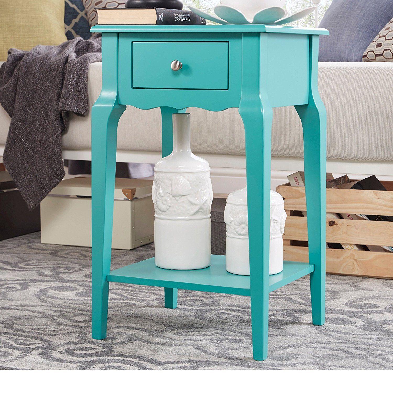 Aqua End Table Wood Storage End Tables Furniture