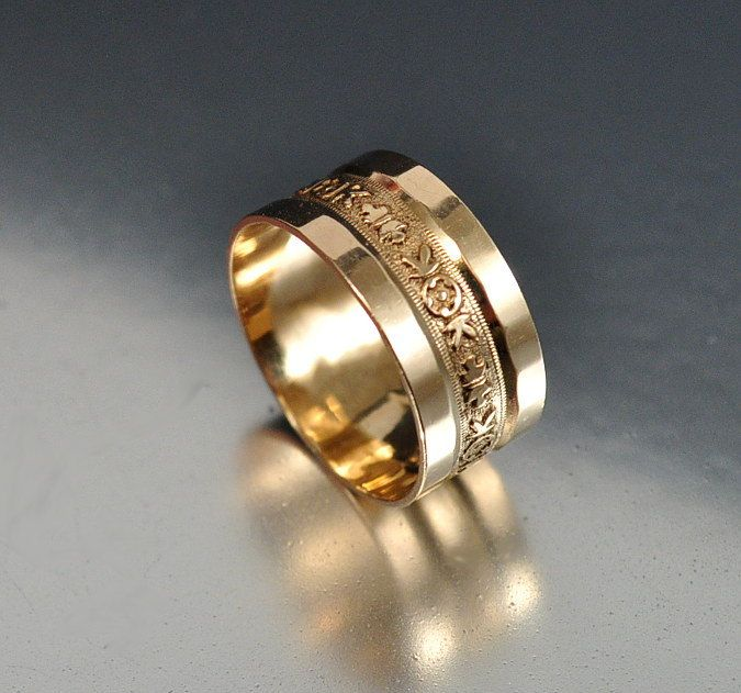 Victorian Gold Wedding Band Ring Antique Jewelry Gold by boylerpf, $125.00