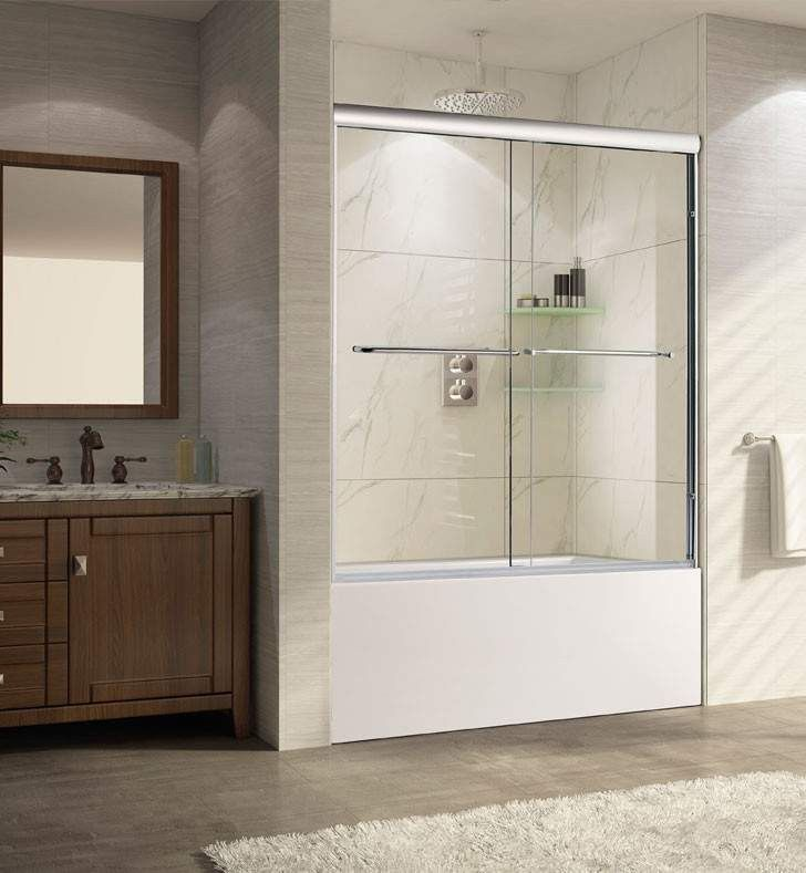 Wet Republic Catalina 62 X 56 Inch 60 W Chrome Sliding Shower Door With 10mm 3 8 Thick Clear Glass Products Shower Doors Shower Enclosure Glass