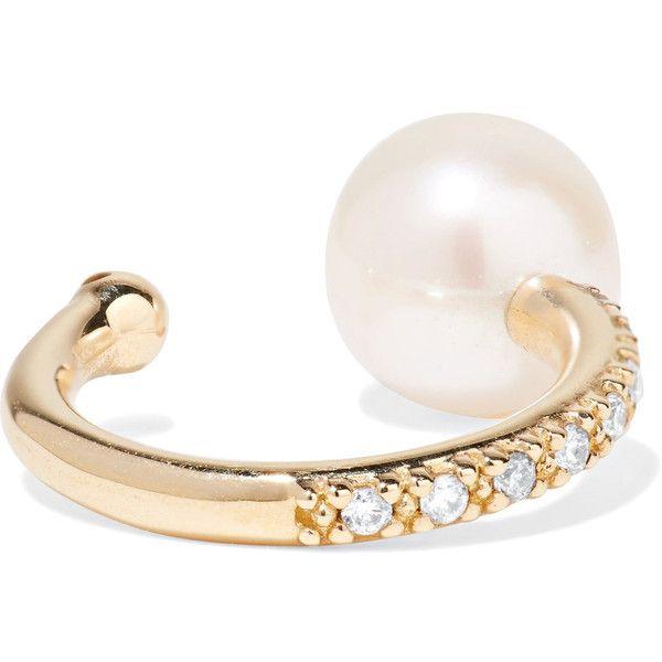 14-karat Gold, Pearl And Diamond Ear Cuff - one size Mizuki