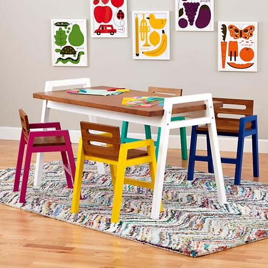 Two Tone Teak Play Chairs Land Of Nod, Land Of Nod Furniture