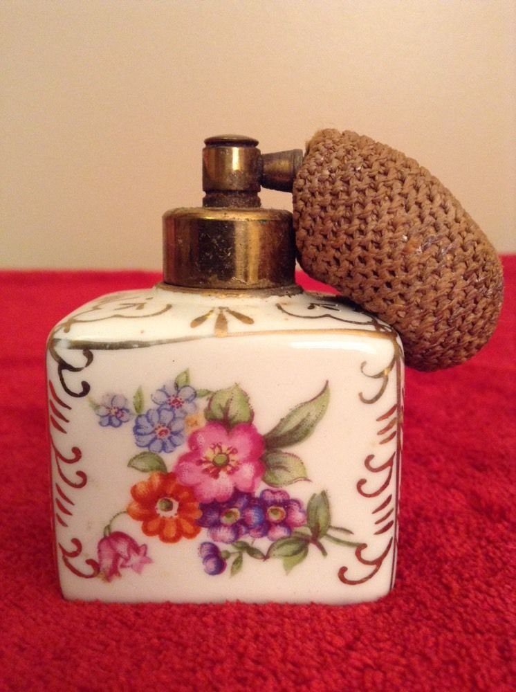 Vintage Porcelain Flower Irice I.W. Rice &  Co. Atomizer Perfume Bottle Japan #Victorian #IWRiceCo