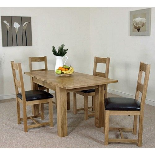 Solid Oak Dining Room Table: Hampton Solid Oak Extension Dining Table & 4 Vancouver Oak