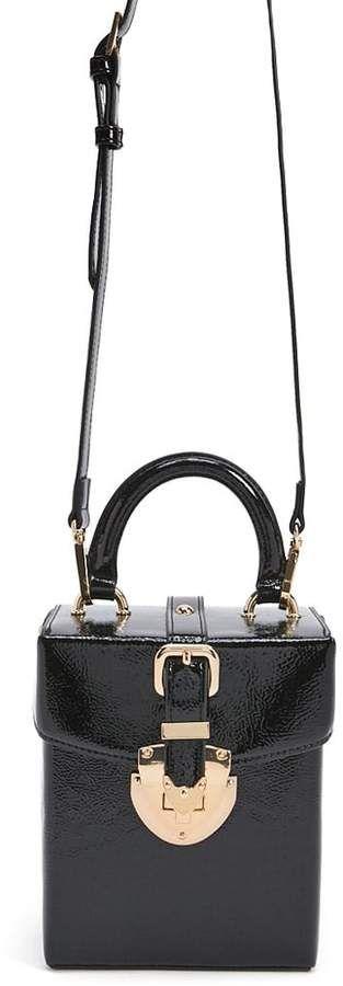 d16e7e46ff5 Faux Patent Leather Box Bag  foldover turn top