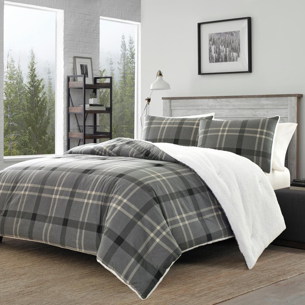 Eddie Bauer 3 Piece Gray Yarrow Point Flannel Sherpa Polyester
