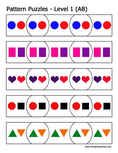 Here S A Set Of Ab Pattern Puzzles Teaching Patterns Math
