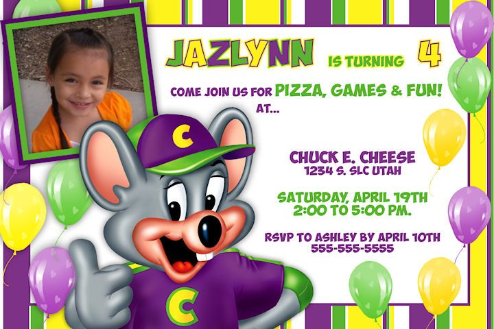 Personalized Chuck E Cheese Printable Birthday Invitation - Pizza - birthday e invites