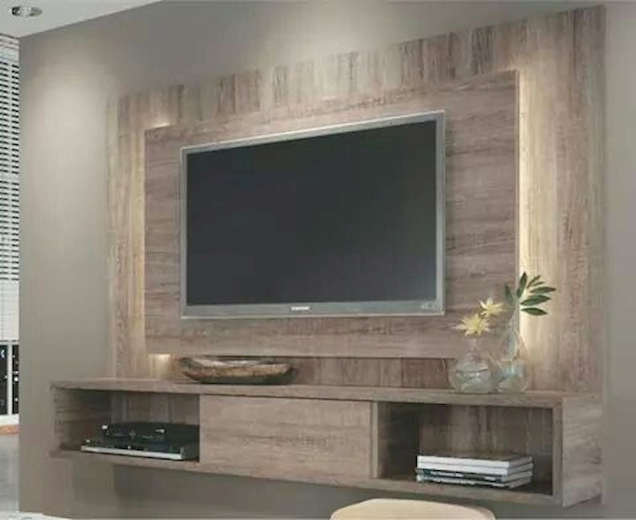 50 Amazing Living Room Designs With Floating Shelves Home To Z Living Room Tv Wall Small Apartment Modern Living Room Tv