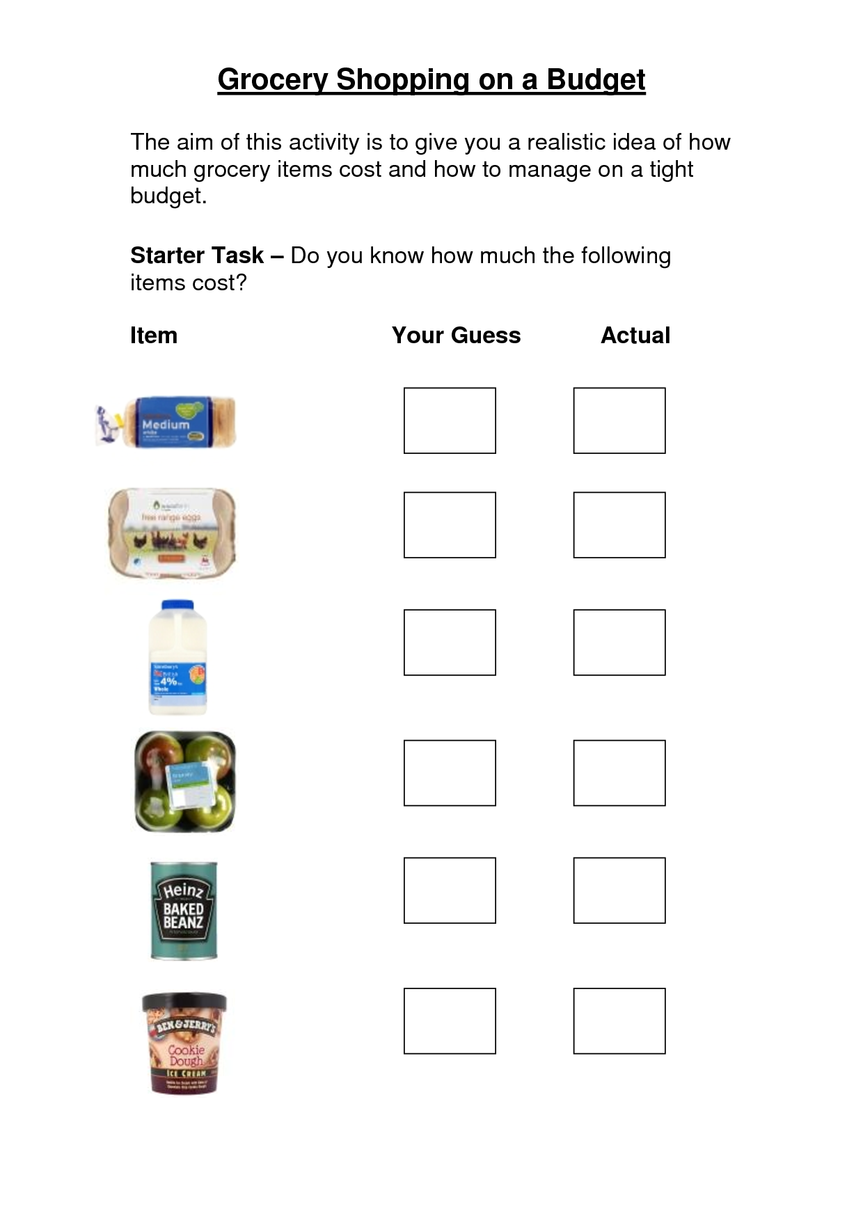 Shopping List Money Skills Worksheet
