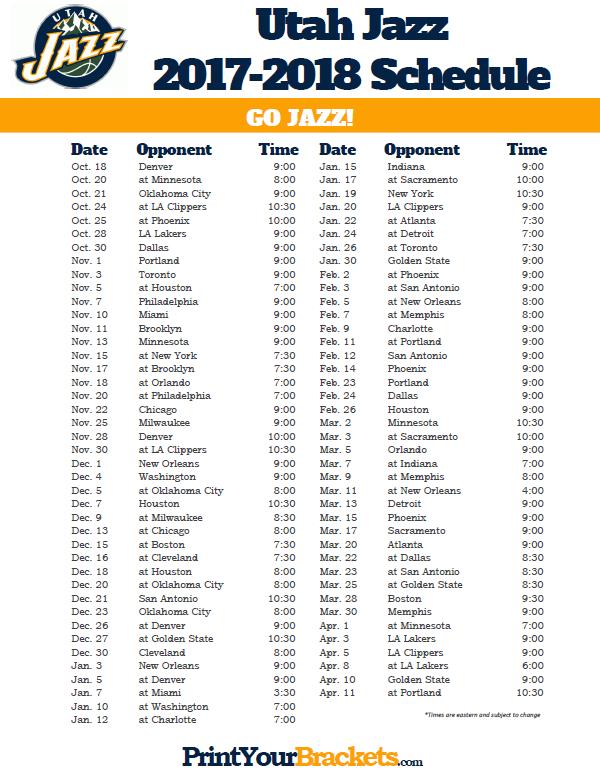 2017-2018 Utah Jazz Schedule | Printable NBA Schedules ...