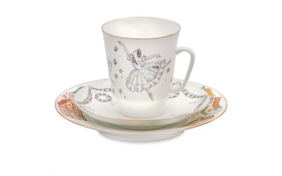 22k gold 3-piece fine bone china Giselle Tea Set (Imperial Porcelain Factory)