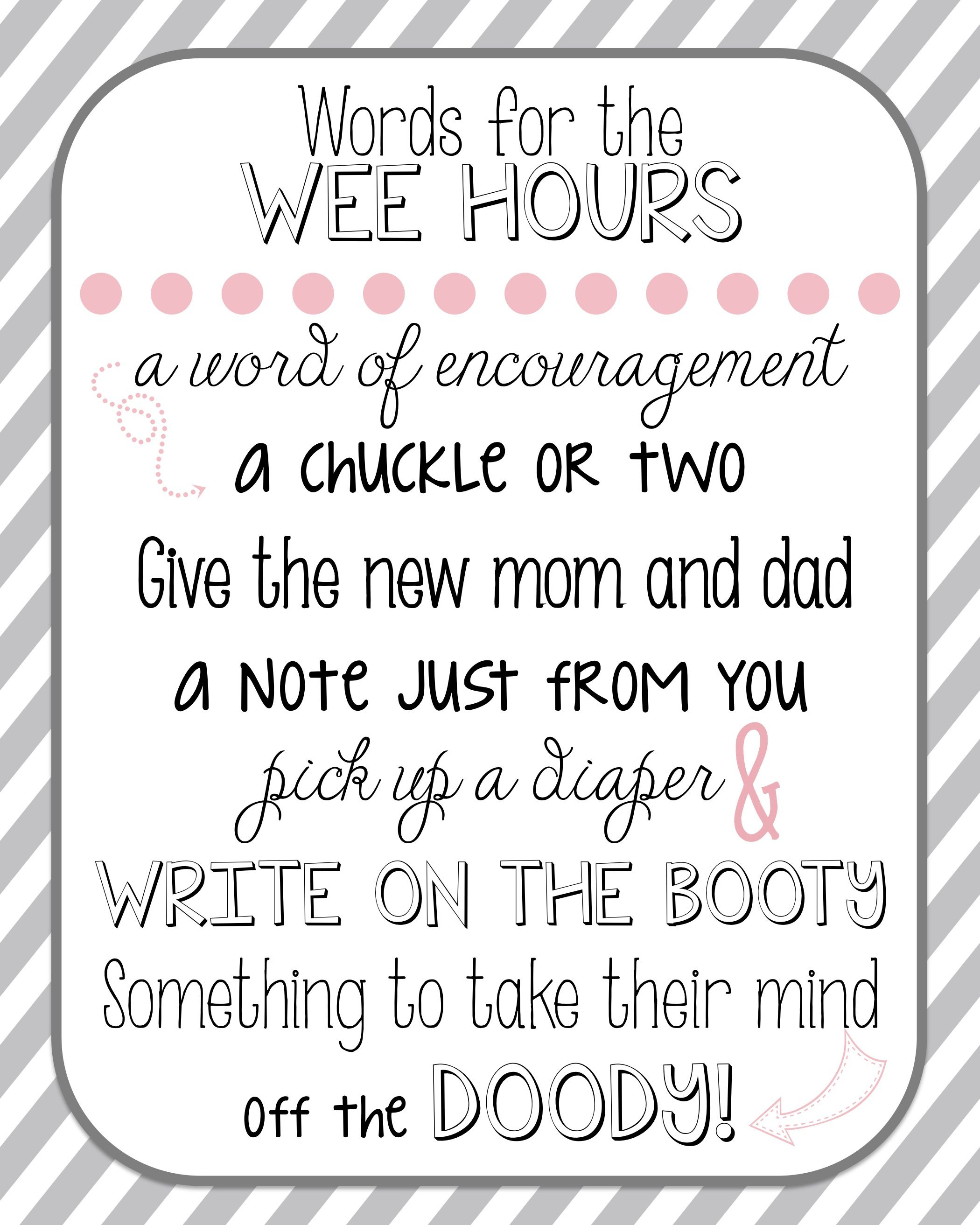 picture about Words for the Wee Hours Free Printable named Diaper notes for youngster shower printable! Additionally readily available inside