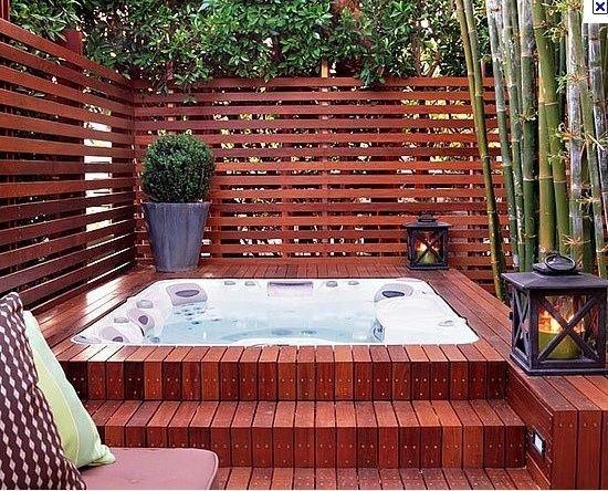 holzdeck stufen ideen whirlpool garten patio | wasser im,