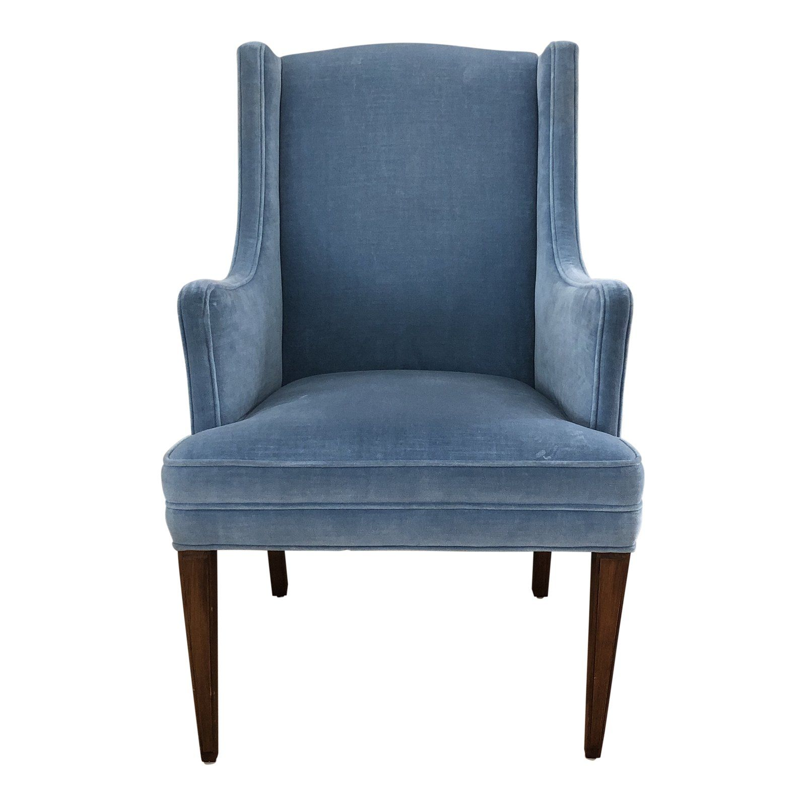 blue velvet accent chair with silver legs
