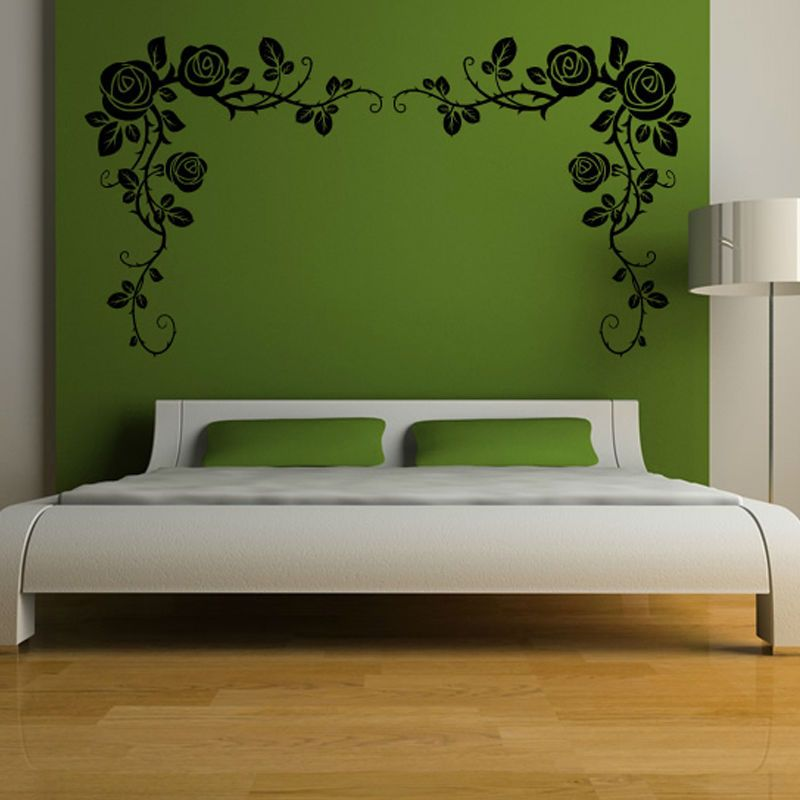 Perfect Sweet And Romantic Loveru0027s Bedroom Decoration Two Side Removable Vinyl Art  Rose Vines Wall Sticker Home