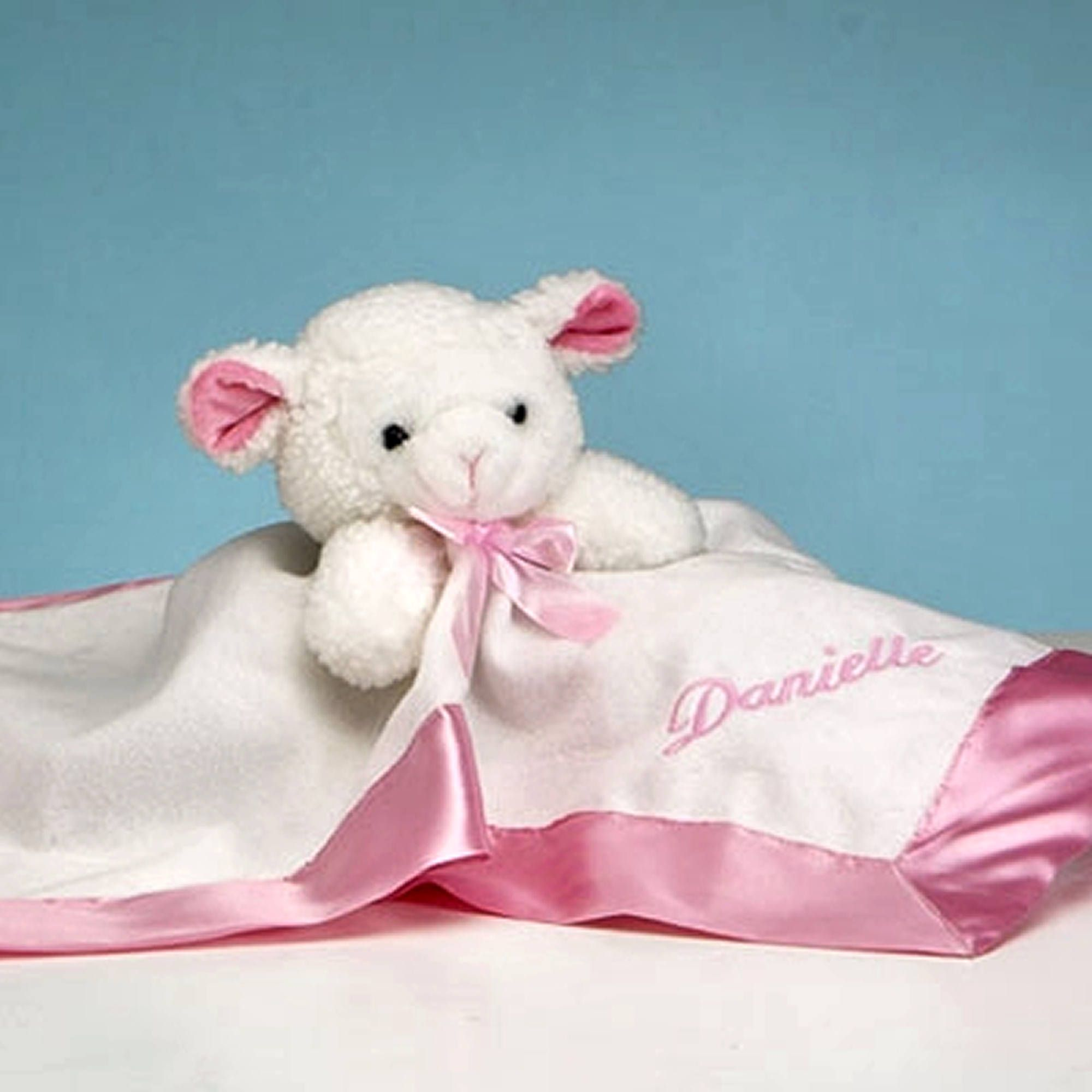 Personalized baby lovie security blanket pink lamb gifts personalized baby lovie security blanket pink lamb negle Gallery