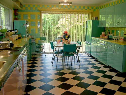 "Lori's pink, blue and yellow retro kitchen A whole lot of lovin' fun is part of 50s kitchen - We rented a truck and loaded up all the metal cabinets and brought them home  All they really needed was a good cleaning and then we attached them to the walls "" I count five cooking surface, two refrigerators, four Mixmasters — and a whole lot of lovin' fun — in Lori and Ed's super happy …"