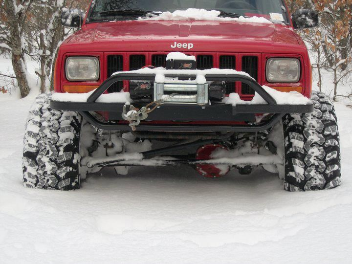 Red Xj Axel Deep In The Snow Is A Good Problem To Have Jeep Cherokee Xj Jeep Xj Jeep Suv