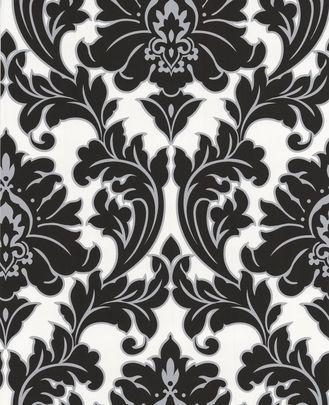 Majestic Damask Feature Wall Wallpaper Black White Ebay Uk