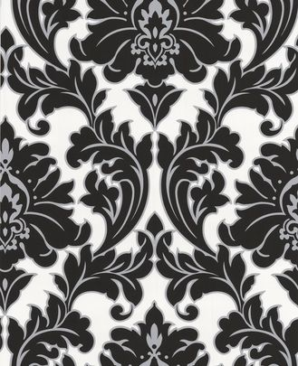 Majestic Damask Feature Wall Wallpaper Black White Ebay Uk Ebay Co Uk Damask Wallpaper Grey Damask Wallpaper Teal Wallpaper