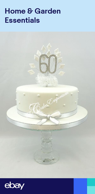 Diamond 60th Wedding Anniversary Birthday Cake Topper Diamonds With Ribbon Set Diamond Anniversary Cake Diamond Wedding Anniversary Cake Wedding Anniversary Cakes