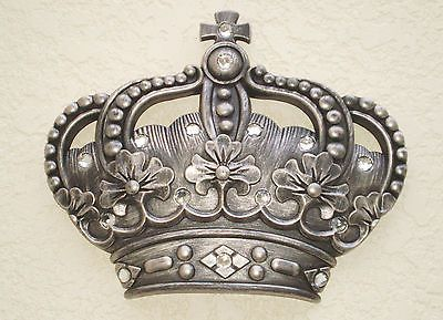 Royal Silver Crown Wall Decor Plaque King Queen Princess Prince His Hers Jewels