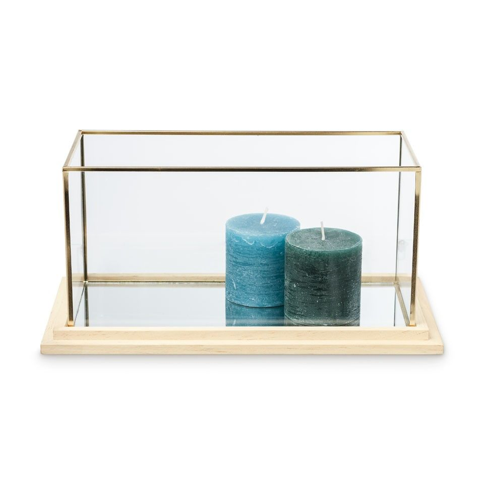 decoratiebak rechthoekig - glas/hout - 35x18x17 cm | xenos, Badezimmer ideen