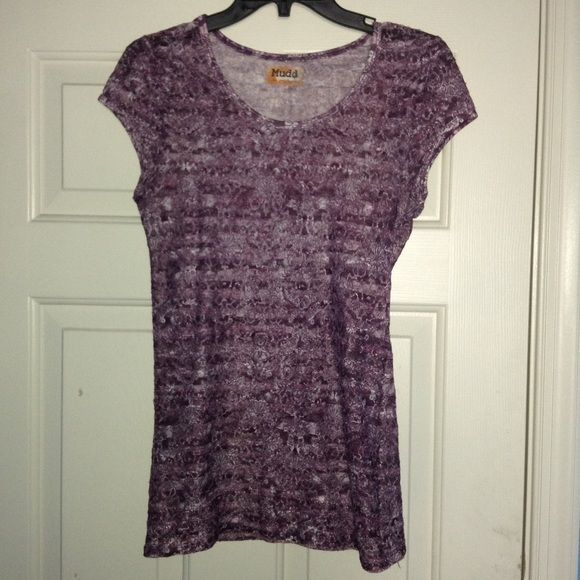 Mudd Lace Top Mudd small like new purple lace stretchy see through top. Mudd Tops