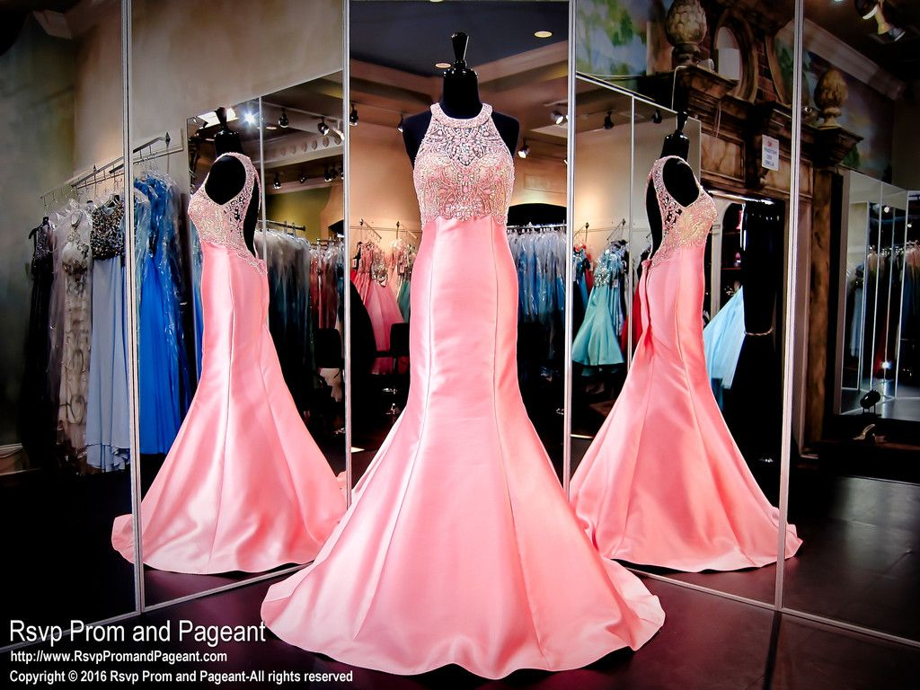 Coral pink mermaid prom pageant dresshigh beaded necklinekeyhole