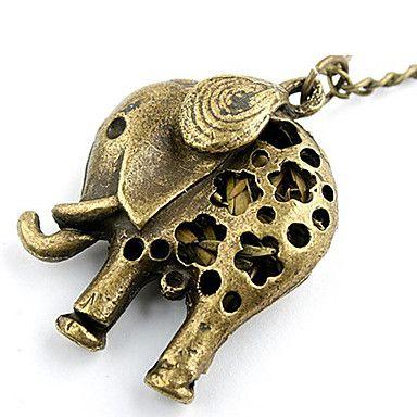 Antique Copper Hollow-Out Elephant Necklace – USD $ 1.69