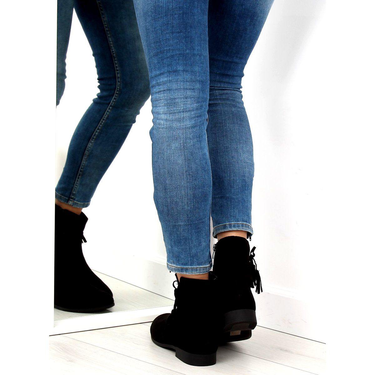 Botki Zamszowe Czarne Ll022 Black Skinny Jeans Fashion Skinny