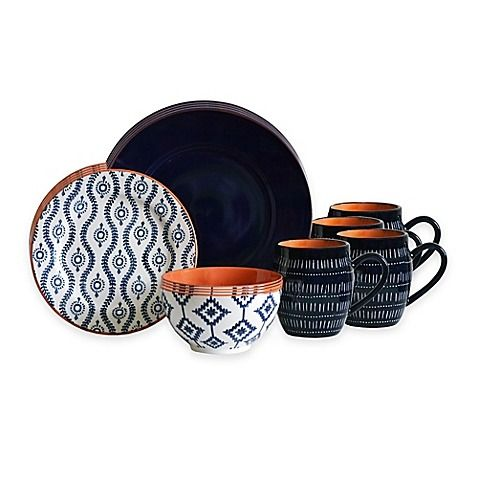 Three different and distinct patterns featured throughout the 16-Piece Tangiers Dinnerware Set from Baum come together beautifully to create a landscape of art at your dinner table. The set includes 4 dinner plates, 4 salad plates, 4 mugs and 4 bowls.