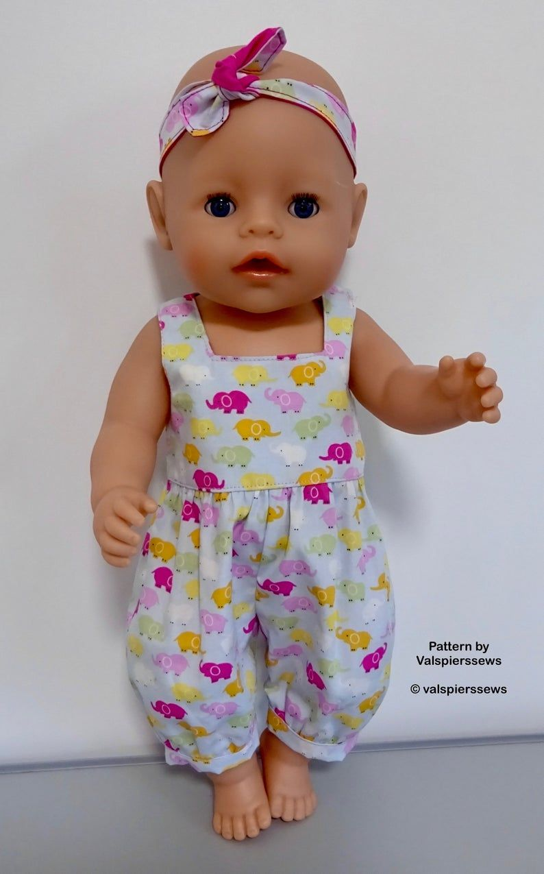 Baby Doll Rompers, Easy Side Opening Rompers in Two Lengths, Two necklines, Fits popular 17 dolls, Valspierssews Doll Clothes Pattern