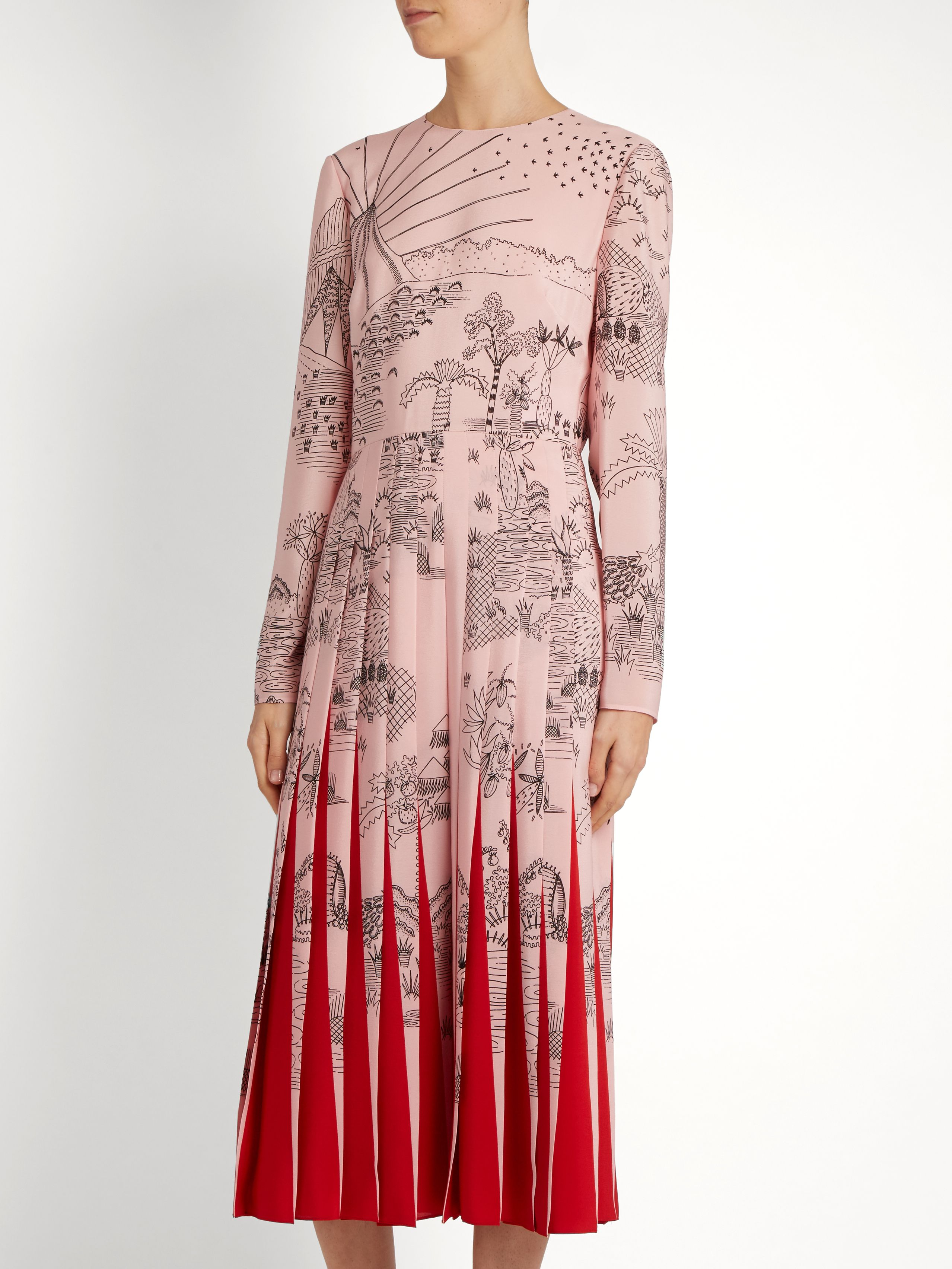 Garden Segments Print Silk Dress Valentino Matchesfashion Com