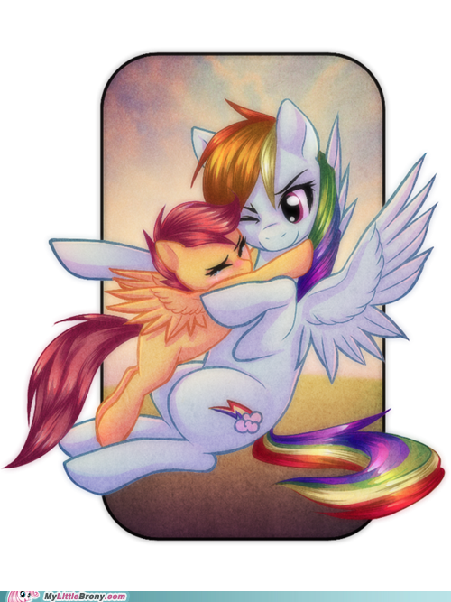 Rainbow Dash And Scootaloo My Little Pony Friendship Rainbow Dash My Little Pony Scootaloo is one of the three characters that make up the cutie mark crusaders, who is tomboyish and idolizes rainbow dash. my little pony friendship rainbow dash