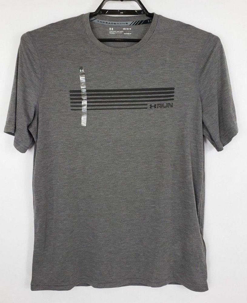 89e85387f Under Armour Threadborne Heatgear Mens Medium Gray Loose Fit Short Sleeve  Shirt #Underarmour #BasicTee