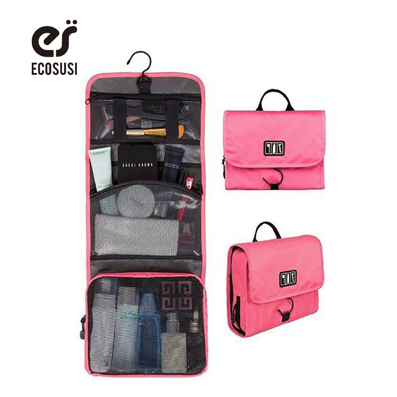 ecosusi Pink Makeup Packing Organizers Multifunctional Travel Pouch  Cosmetic Bags Toiletry Bag With Hanger Make Tidy 4e39446c5b