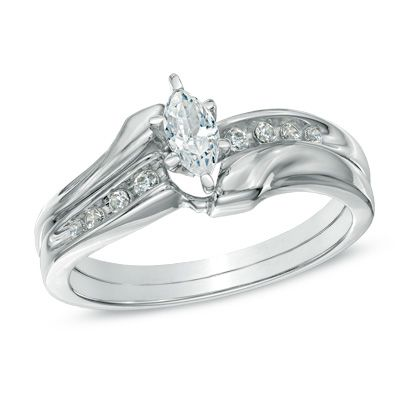 Click Image Twice For Info 1 2 Ct T W Marquise Diamond Bypass Bridal Set In 10k White Gold Wedding Jewelry Bridal Ring Sets Marquise Diamond Et Black