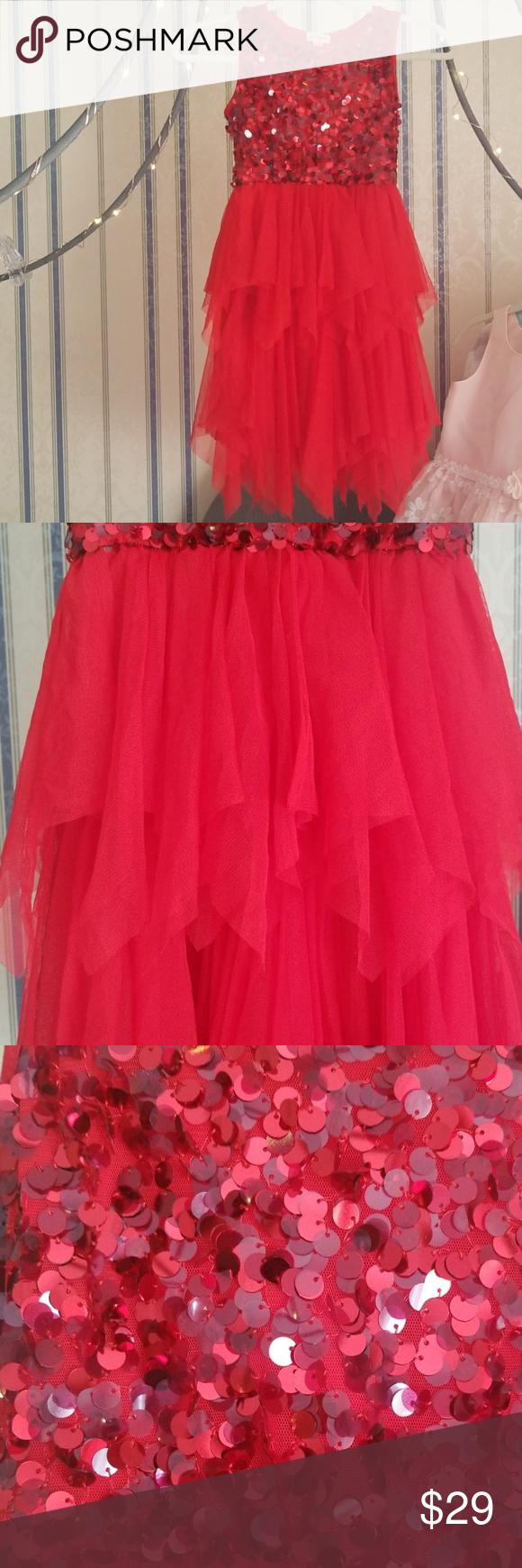 f4028fd0c Cat & Jack Girls Red Tulle Layered Sequin Dress Cat & Jack Girls M ...